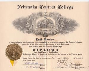 Ruth's high school diploma from NCC Academy