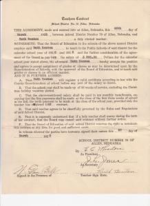 This is the contract Ruth signed in March 1928 to teach in the Allen Public Schools.
