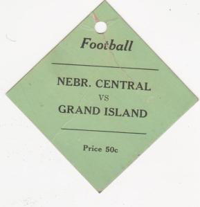 Football ticket from Mom's scrapbook