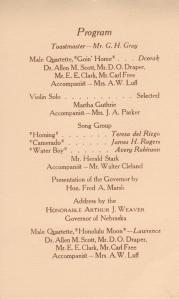 Program for the graduation banquet at which the govenor spoke